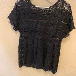 Anthropologie black lace blouse